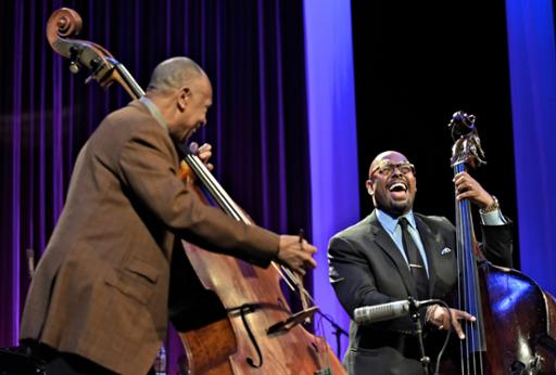 John Clayton (left) and Christian McBride enjoying a musical moment during the 2016 Tri-C JazzFest